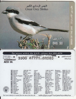 U.A.E. - Bird, Great Grey Shrikes(reverse 2), Etisalat Prepaid Card Dhs 30, Used - United Arab Emirates