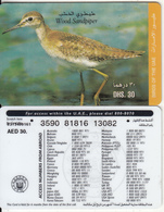 U.A.E. - Bird, Wood Sandpiper(reverse 5), Etisalat Prepaid Card Dhs 30, Used - United Arab Emirates