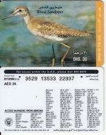 U.A.E. - Bird, Wood Sandpiper(reverse 4), Etisalat Prepaid Card Dhs 30, Used - United Arab Emirates