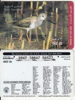 U.A.E. - Bird, Terek Sandpiper(reverse 4), Etisalat Prepaid Card Dhs 30, Used - United Arab Emirates