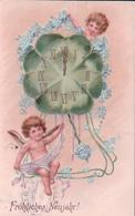 Fröhliche Neujahr, Angelots, Horloge Et Myosotis, Litho Gaufrées (31.12.1906) - Anges