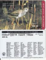 U.A.E. - Bird, Terek Sandpiper(reverse 2), Etisalat Prepaid Card Dhs 30, Used - United Arab Emirates