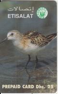 U.A.E. - Bird(reverse 1b), Etisalat Prepaid Card Dhs 25, Used - United Arab Emirates