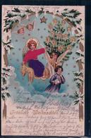 Fröhliche Weihnachten, Angelots Et Enfants, Litho Gaufrée Et Tissu (25.2.1902) - Anges