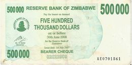 Zimbabwe 500.000 Dollars 01-07-2007 Pick 51 Ref 1565 - Zimbabwe