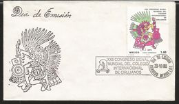 J) 1980 MEXICO, XXII INTERNATIONAL BIENNIAL CONGRESS INTERNATIONAL COLLEGE OF SURGEONS, BORBONIC CODE, XIPE, SET OF 7 FD - Mexico