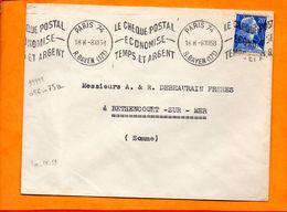 Paris, Paris 74, Flamme à Texte, Le Chèque Postal économise Temps Et Argent, Krag - Sellados Mecánicos (Publicitario)