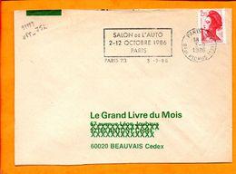 Paris, Paris 73, Flamme à Texte, Salon De L'Auto, 2-12 Octobre 1986 - Marcophilie (Lettres)