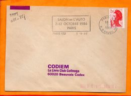 Paris, Paris 123, Flamme à Texte, Salon De L'Auto, 2-12 Octobre 1986 - Marcophilie (Lettres)