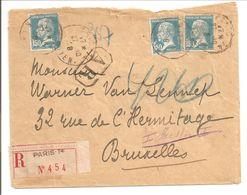 Lettre Recommandé.Avis De Reception.Paris>Bruxelles.Tarif 3xFr1,50.3Timbres Pasteur 1,50 !!! - Marcophilie (Lettres)