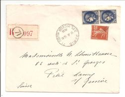 Lettre Recommandé Paris 71>Suisse Petit-Lancy 1938 - Poststempel (Briefe)
