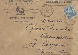 1884- Enveloppe De Chambon ( Loire )  Ornée D'un Lion Affr. 15 C Sage Oblit Conv. Ligne Le Puy à St Etienne - 1877-1920: Semi-Moderne