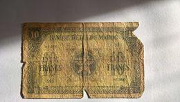 BILLETS - MAROC - 10 Francs. Banque D'état Du Maroc.  1-3-1944 - Marocco