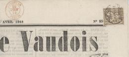 Nouvelliste Vaudois 1868 Cachet D'entrée Suisse Mulhouse - Briefe U. Dokumente