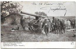 Militaria Guerre 14 18  Nos Vaillants Artilleurs à L'oeuvre Mise En Batterie D'un Rimailho - Guerre 1914-18