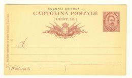 COLONIA ERITREA - INTERO POSTALE N° C2 - NUOVO - C. 10 ROSSO - Eritrea