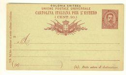 COLONIA ERITREA - INTERO POSTALE N° C3 - NUOVO - C. 10 ROSSO SU VERDE - PER L'ESTERO - Eritrea