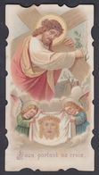 Jesus Portant Sa Croix Angelots St Suaire Ancienne Image Pieuse Religieuse Santini Holy Card - Imágenes Religiosas
