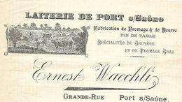 Facture / 70 HAUTE SAONE / Laiterie De PORT Sur Saône / Fromage Beurre Gruyère / 1913 - Alimentaire
