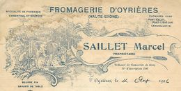 Facture / 70 HAUTE SAONE / Fromagerie OYRIERES /  SAILLET Marcel / Gruyère Cancoillotte Beurre / 1926 - Alimentaire