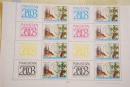 PAKISTAN SG 1178 PHILAT EXIB KARACHI 2003 4 GUTTER PAIRS ALL DIFFERENT COLOURS  BL4 - Pakistan