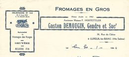 Facture / 70 HAUTE SAONE / LUXEUIL / DEMOUGIN / Fromages Gruyère Beurre / 1944 - Alimentaire