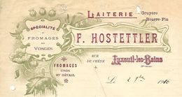 Facture / 70 HAUTE SAONE / LUXEUIL / HOSTETTLER / Fromages Gruyère Beurre / 1910 - Alimentaire