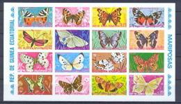 Guinée équatoriale Guinea 020a Papillons Butterflies Papillon Non Dentelé Imperforate Bloc MNH ** - Schmetterlinge