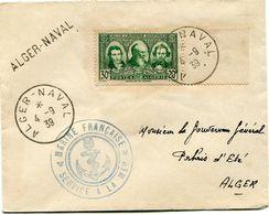 """ALGERIE LETTRE AVEC CACHET """"MARINE FRANCAISE SERVICE A LA MER"""" + GRIFFE """"ALGER-NAVAL"""" DEPART ALGER-NAVAL 4-9-39 POUR.... - Covers & Documents"""