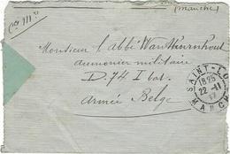 1917- Enveloppe  En Franchise De Saint-Lo ( Manche )  Pour Un Aumonier Militaire - Censure Belge - Belgisch Leger