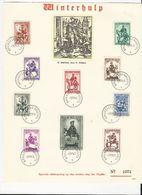 Belgique:  583/ 592 Obli 1er Jour (2 Feuillets Souvenir Secours D'Hiver) - Cartes Souvenir