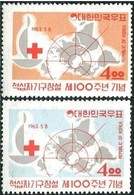1963 South Korea Red Cross 100 Years Stamps Map - Medicine