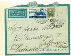ERITREA - 1936 - LETTERA DA ASMARA PER ZAFFERANA  ETNEA - VIA AEREA - Eritrea