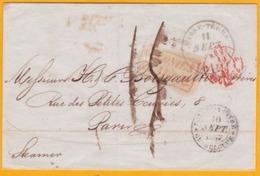 1847 Enveloppe De Basse Terre, Guadeloupe Vers Paris Via Pointe à Pitre Par Steamer/Vapeur - Colonies - Postmark Collection (Covers)