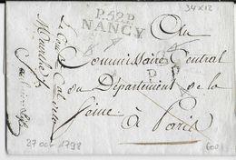 AN 7 - MEURTHE ET MOSELLE - LETTRE PP Du COMMISSAIRE Du DIRECTOIRE EXECUTIF Avec MARQUE LINEAIRE De NANCY => PARIS - 1701-1800: Précurseurs XVIII