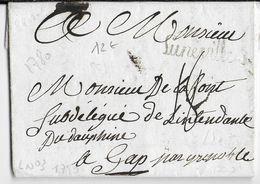 1780 - MEURTHE ET MOSELLE - LETTRE Avec MARQUE LINEAIRE De LUNEVILLE => GAP - 1701-1800: Précurseurs XVIII