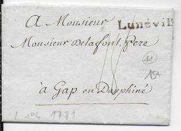 1781 - MEURTHE ET MOSELLE - LETTRE Avec MARQUE LINEAIRE De LUNEVILLE => GAP - 1701-1800: Précurseurs XVIII
