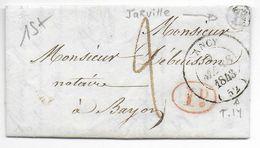 """1843 - MEURTHE ET MOSELLE - LETTRE TRES PETIT FORMAT 90x50 De JARVILLE Avec BOITE RURALE """"B"""" + T14 De NANCY => BAYON - 1801-1848: Precursori XIX"""
