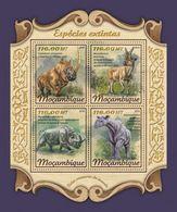 Mozambico 2018, Animals, Extinct Animals, Rhino, 4val In BF - Rhinozerosse
