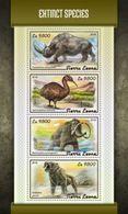 Sierra Leone 2018, Animals Extinct, Rhino, Bird, 4val In BF - Rhinozerosse