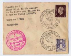 ENVELOPPE VIDE  EXPOSITION DU 75° ANNIVERSAIRE DE LA POSTE PAR BALLON SIEGE DE PARIS 1870/71 CACHET INTERRESSANT - Militaria