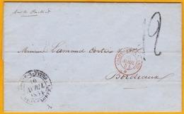 1854 - LAC De Pointe à Pitre, Guadeloupe Vers Bordeaux  Par Packet  Anglais - Colonies - Postmark Collection (Covers)