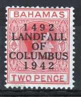 Bahamas 1942 George VI 2d Scarlet Landfall Of Columbus Mounted Mint  Stamp. - Bahamas (...-1973)