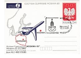 Moscou Olympiques - Polska 1980 Pologne - Warszawa - Entier Stationery Ganzsache - Aigle Eagle Avion Airplane Flugzeug - Ete 1980: Moscou