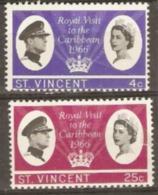 St Vincent 1966  SG 250-1  Royal Visit  Lightly Mounted Mint - St.Vincent (...-1979)