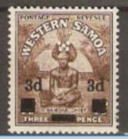 Samoa  1940   SG 199  3d Overprint  Lightly Mounted Mint - Samoa