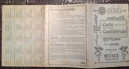 PAD. 291. C.G.T. Carte Confédérale De 1919-1920. Fédération Des Métaux. Lobbes. - Documents Historiques