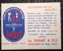 PAD. 293. Carton Publicitaire De La Bonneterie Joseph Duhant & Fils à Quevaucamps - Publicidad