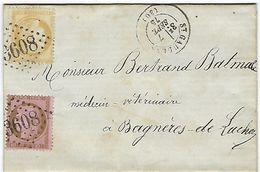 Saint Gaudens, Gros Chiffre 3608, Pour Bagnères De Luchon, En 1875 - Storia Postale