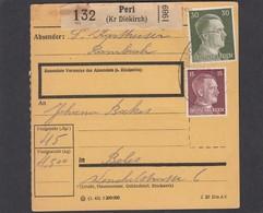 PAKETKARTE VON PERL NACH BELES. - 1940-1944 Occupation Allemande